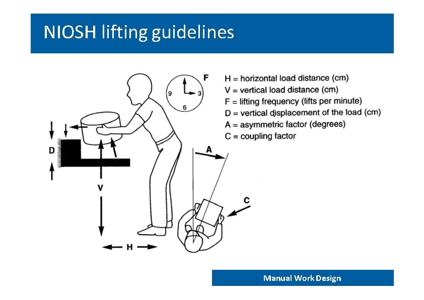 NIOSH lifting guidelines END 202 – Work analyis and design Manual Work Design