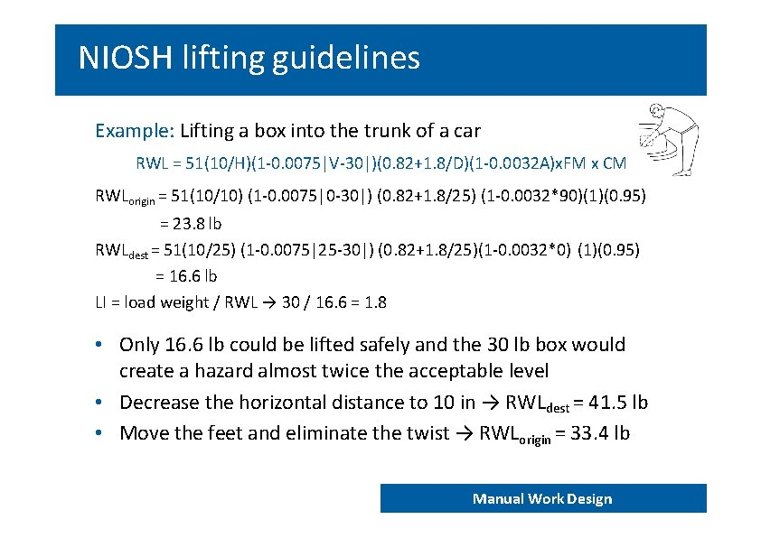 NIOSH lifting guidelines Example: Lifting a box into the trunk of a car RWL