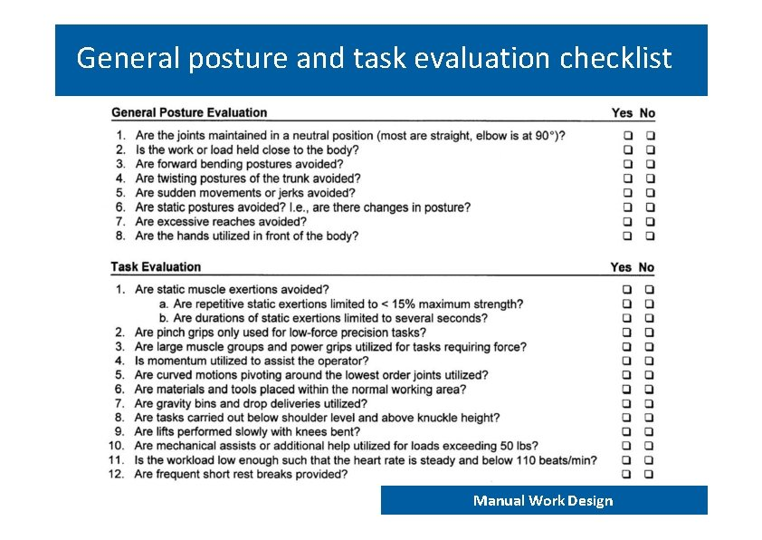 General posture and task evaluation checklist END 202 – Work analysis and design Manual