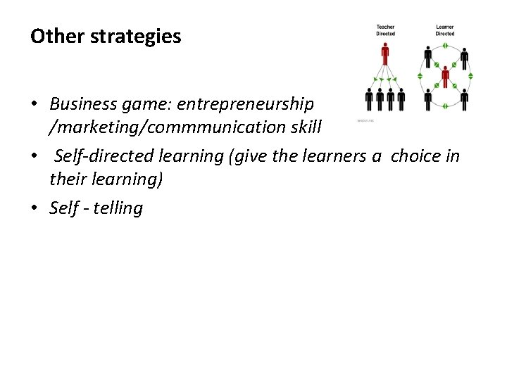 Other strategies • Business game: entrepreneurship /marketing/commmunication skill • Self-directed learning (give the learners