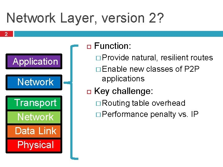 Network Layer, version 2? 2 � Provide natural, resilient routes � Enable new classes