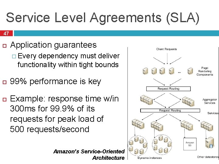 Service Level Agreements (SLA) 47 Application guarantees � Every dependency must deliver functionality within