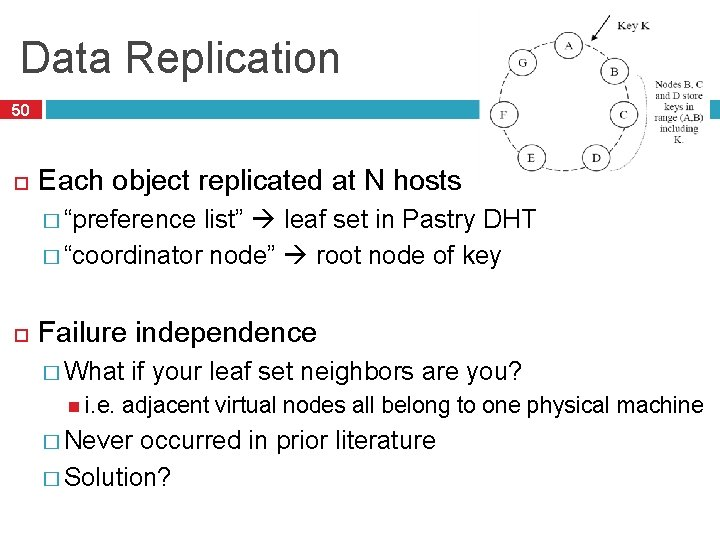 """Data Replication 50 Each object replicated at N hosts � """"preference list"""" leaf set"""