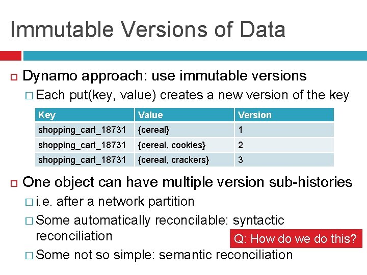 Immutable Versions of Data Dynamo approach: use immutable versions � Each put(key, value) creates