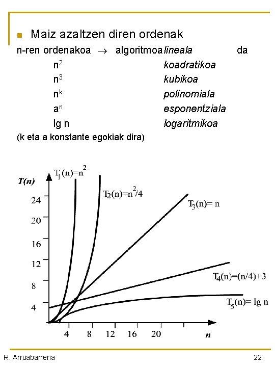 n Maiz azaltzen diren ordenak n-ren ordenakoa algoritmoalineala da n 2 koadratikoa n 3