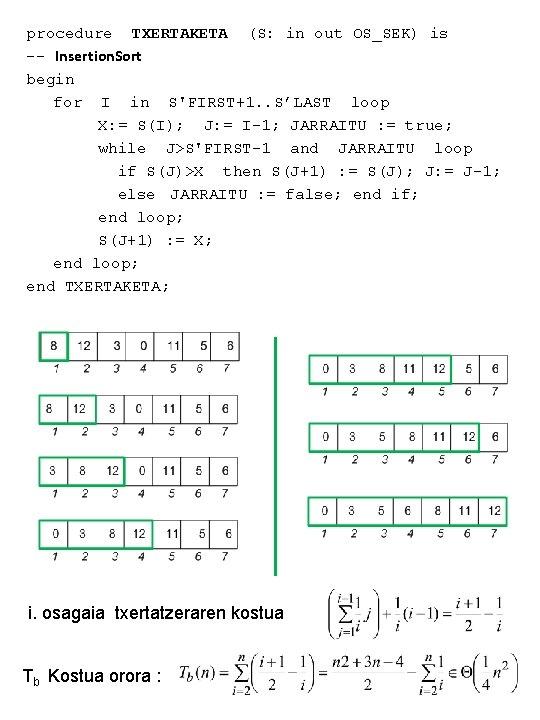 procedure TXERTAKETA (S: in out OS_SEK) is -- Insertion. Sort begin for I in