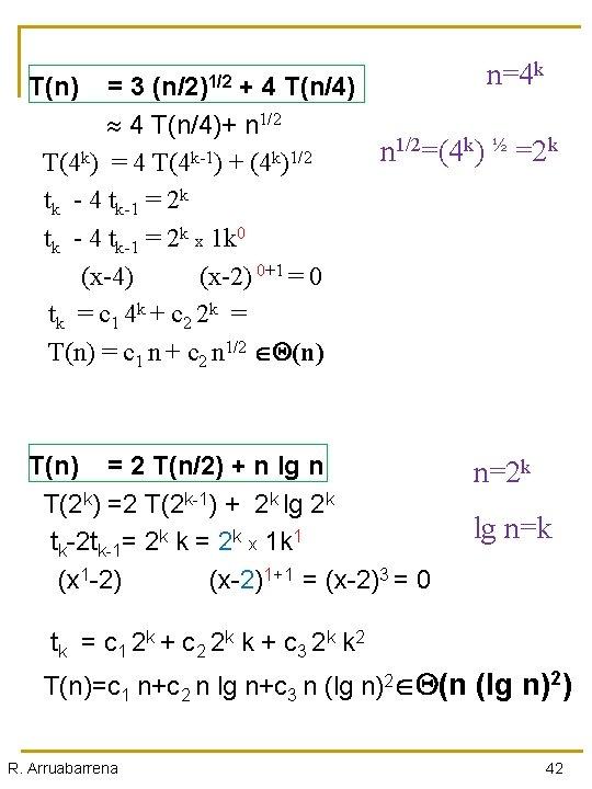T(n) n=4 k = 3 (n/2)1/2 + 4 T(n/4)+ n 1/2 T(4 k) =