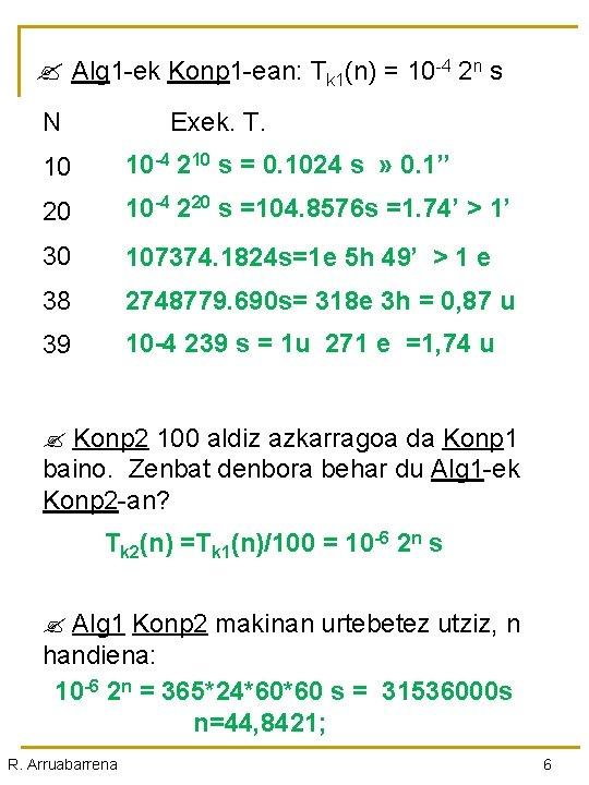 Alg 1 -ek Konp 1 -ean: Tk 1(n) = 10 -4 2 n