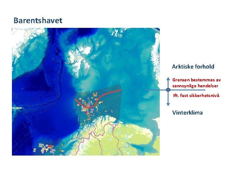 Barentshavet Arktiske forhold Grensen bestemmes av sannsynlige hendelser Ift. fast sikkerhetsnivå Vinterklima