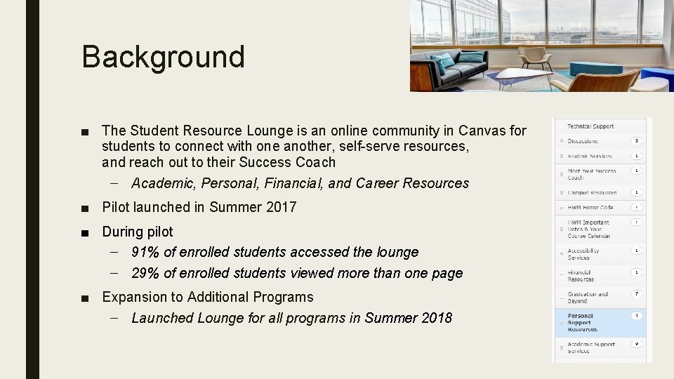 Background ■ The Student Resource Lounge is an online community in Canvas for students