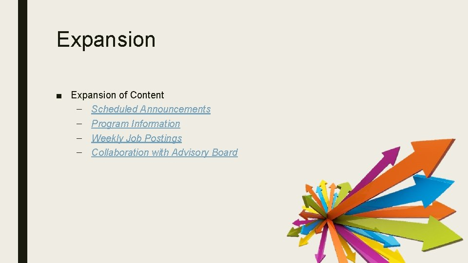 Expansion ■ Expansion of Content – Scheduled Announcements – Program Information – Weekly Job