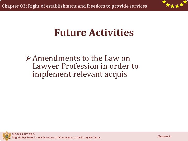 Chapter 03: Right of establishment and freedom to provide services Future Activities Ø Amendments