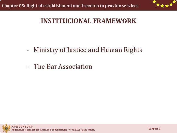 Chapter 03: Right of establishment and freedom to provide services INSTITUCIONAL FRAMEWORK - Ministry