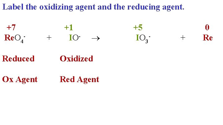 Label the oxidizing agent and the reducing agent. +7 +1 +5 Re. O 4+