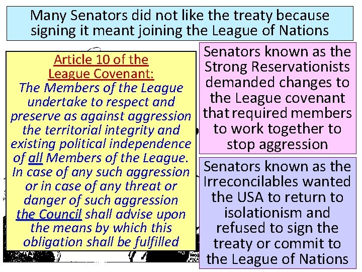 Many Senators did not like the treaty because signing it meant joining the League