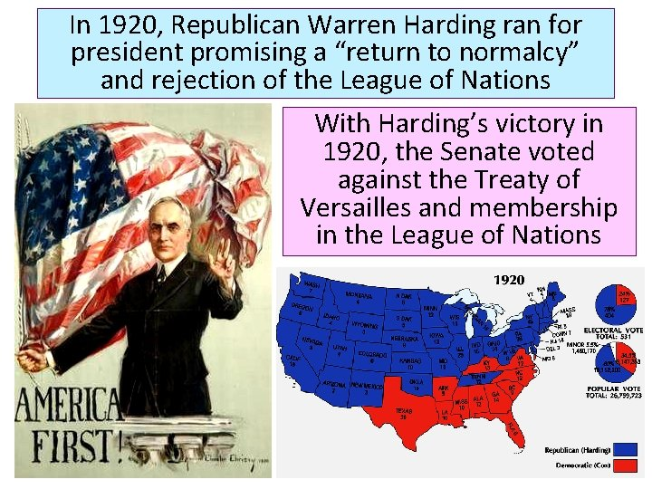 """In 1920, Republican Warren Harding ran for president promising a """"return to normalcy"""" and"""
