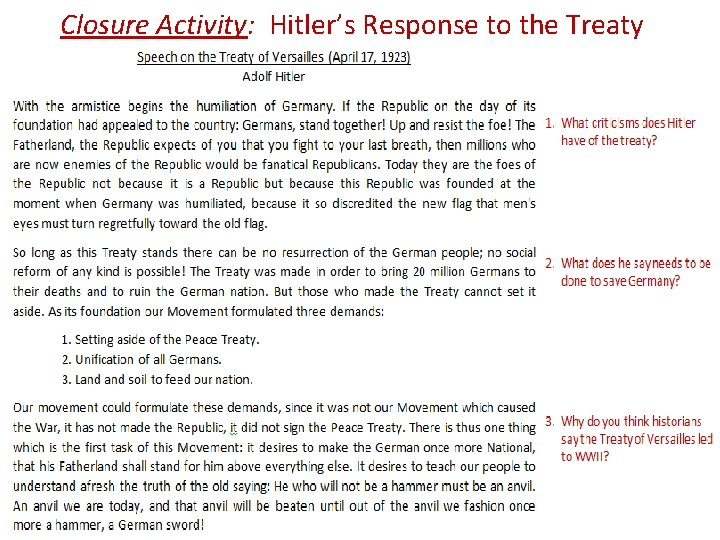 Closure Activity: Hitler's Response to the Treaty