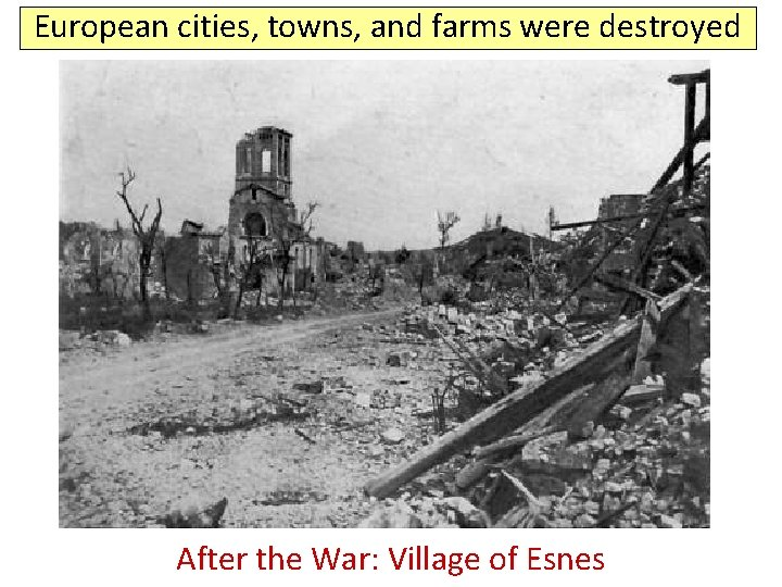 European cities, towns, and farms were destroyed Before After the. War: Villageof of. Esnes
