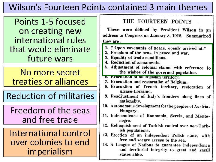 Wilson's Fourteen Points contained 3 main themes Points 1 -5 focused on creating new