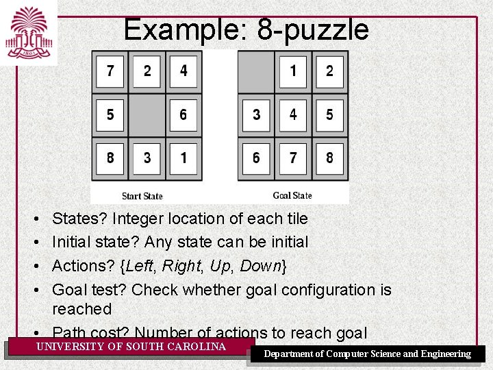 Example: 8 -puzzle • • States? Integer location of each tile Initial state? Any