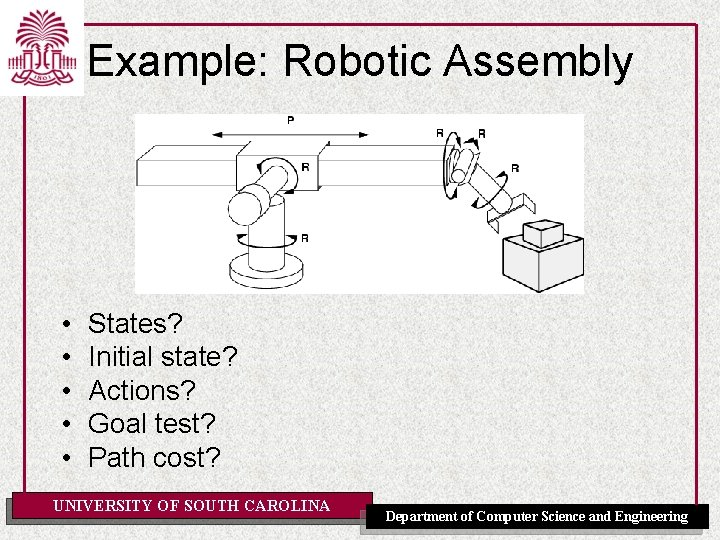 Example: Robotic Assembly • • • States? Initial state? Actions? Goal test? Path cost?
