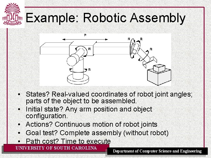 Example: Robotic Assembly • States? Real-valued coordinates of robot joint angles; parts of the
