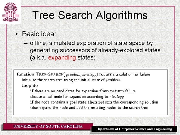 Tree Search Algorithms • Basic idea: – offline, simulated exploration of state space by