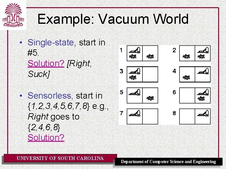 Example: Vacuum World • Single-state, start in #5. Solution? [Right, Suck] • Sensorless, start