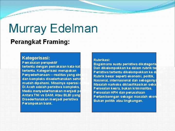 Murray Edelman Perangkat Framing: Kategorisasi: Pemakaian perspektif tertentu dengan pemakaian kata-kata tertentu. Kategorisasi merupakan