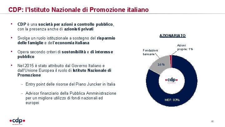 CDP: l'Istituto Nazionale di Promozione italiano • CDP è una società per azioni a