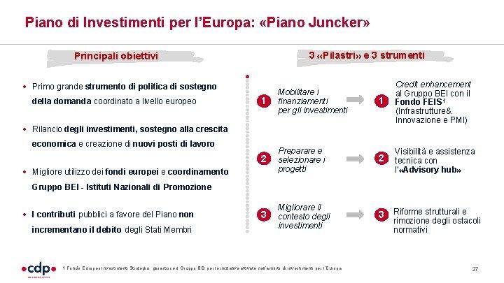 Piano di Investimenti per l'Europa: «Piano Juncker» 3 «Pilastri» e 3 strumenti Principali obiettivi