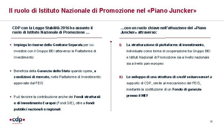 Il ruolo di Istituto Nazionale di Promozione nel «Piano Juncker» CDP con la Legge