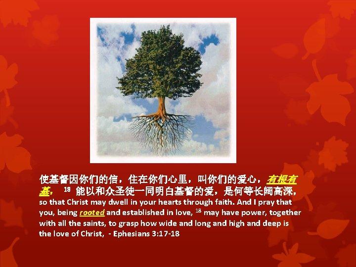 使基督因你们的信,住在你们心里,叫你们的爱心,有根有 基, 18 能以和众圣徒一同明白基督的爱,是何等长阔高深, so that Christ may dwell in your hearts through faith.