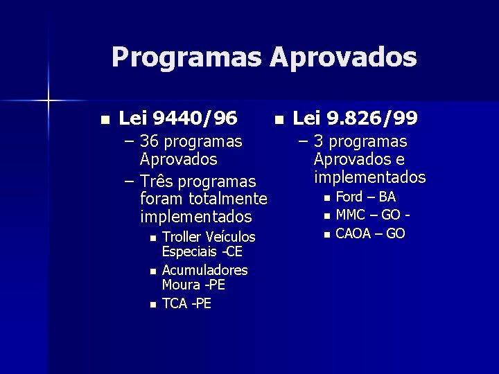 Programas Aprovados n Lei 9440/96 – 36 programas Aprovados – Três programas foram totalmente
