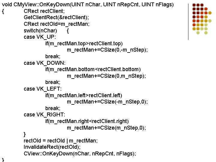 void CMy. View: : On. Key. Down(UINT n. Char, UINT n. Rep. Cnt, UINT