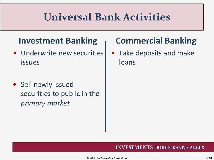 Universal Bank Activities Investment Banking Commercial Banking • Underwrite new securities • Take deposits