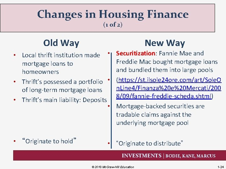Changes in Housing Finance (1 of 2) Old Way New Way • Local thrift