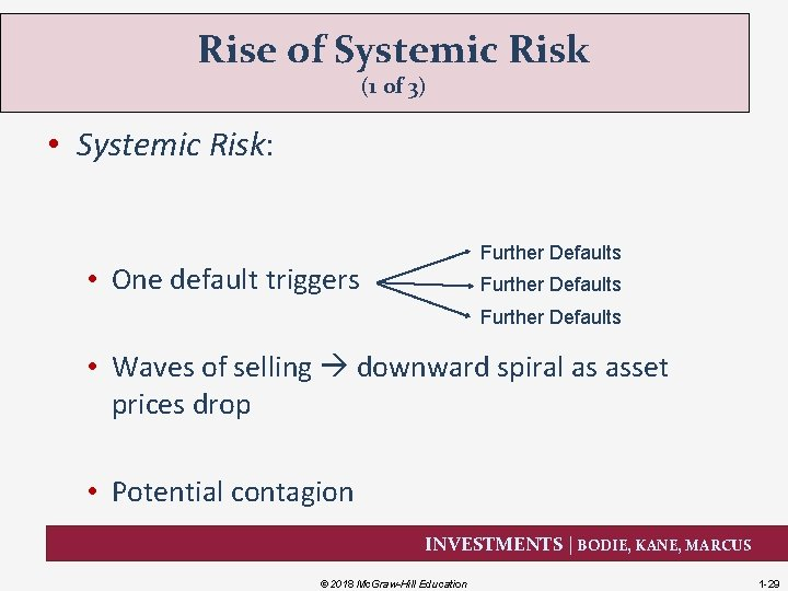 Rise of Systemic Risk (1 of 3) • Systemic Risk: Further Defaults • One