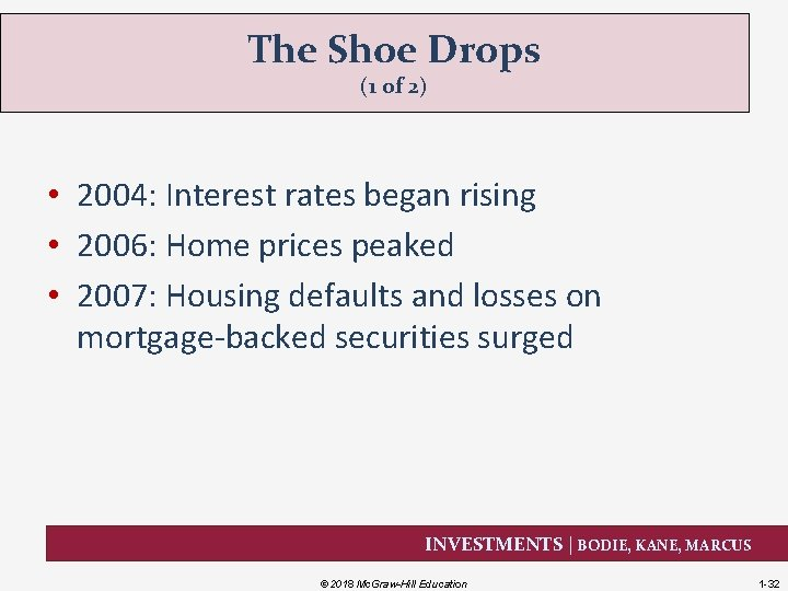 The Shoe Drops (1 of 2) • 2004: Interest rates began rising • 2006: