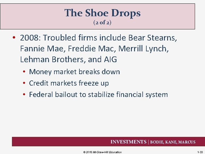 The Shoe Drops (2 of 2) • 2008: Troubled firms include Bear Stearns, Fannie