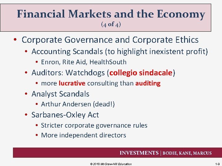Financial Markets and the Economy (4 of 4) • Corporate Governance and Corporate Ethics