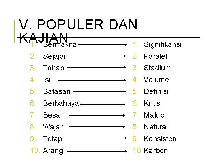 V. POPULER DAN KAJIAN 1. Bermakna 1. Signifikansi 2. Sejajar 2. Paralel 3. Tahap