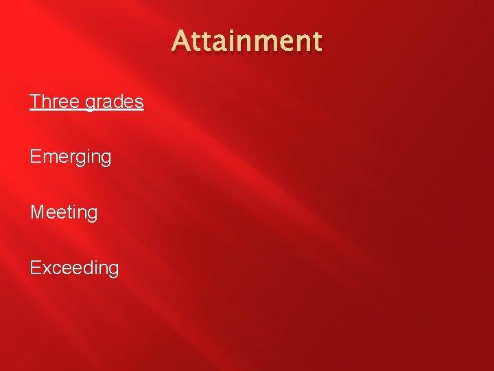 Attainment Three grades Emerging Meeting Exceeding