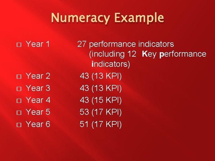 Numeracy Example � Year 1 � Year 2 Year 3 Year 4 Year 5