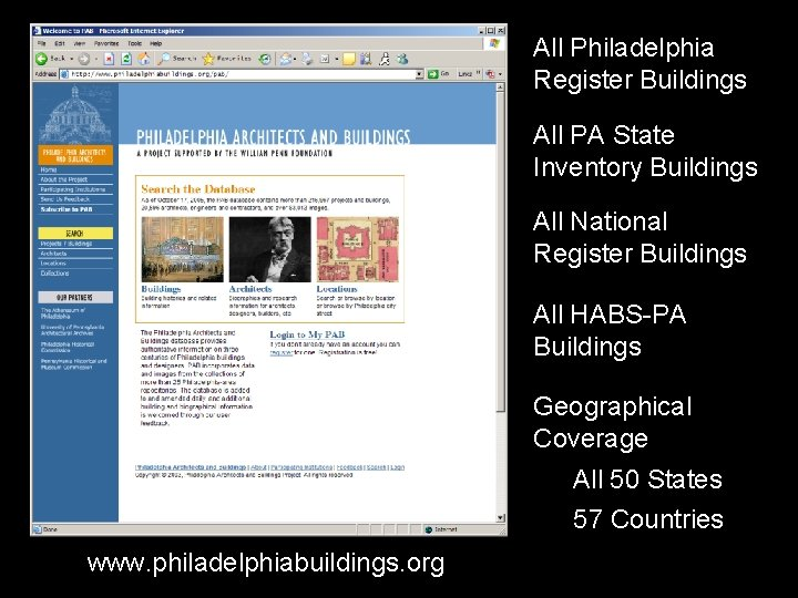 All Philadelphia Register Buildings All PA State Inventory Buildings All National Register Buildings All