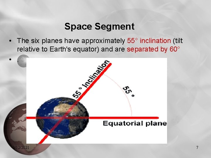 Space Segment • The six planes have approximately 55° inclination (tilt relative to Earth's