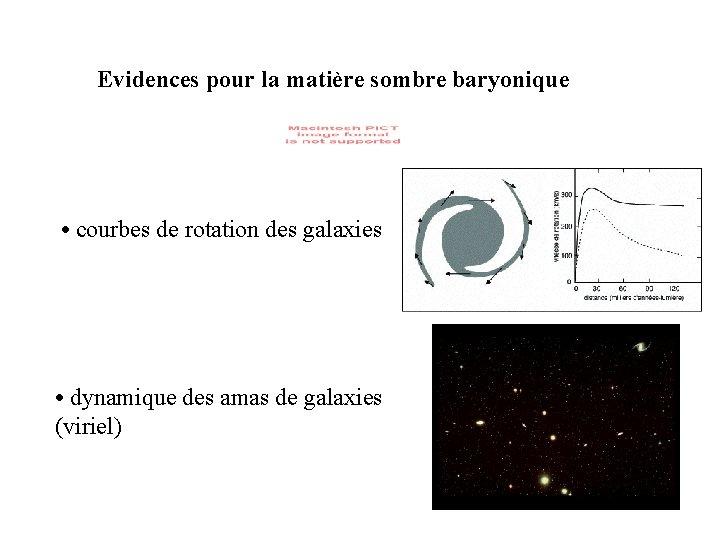 Evidences pour la matière sombre baryonique • courbes de rotation des galaxies • dynamique
