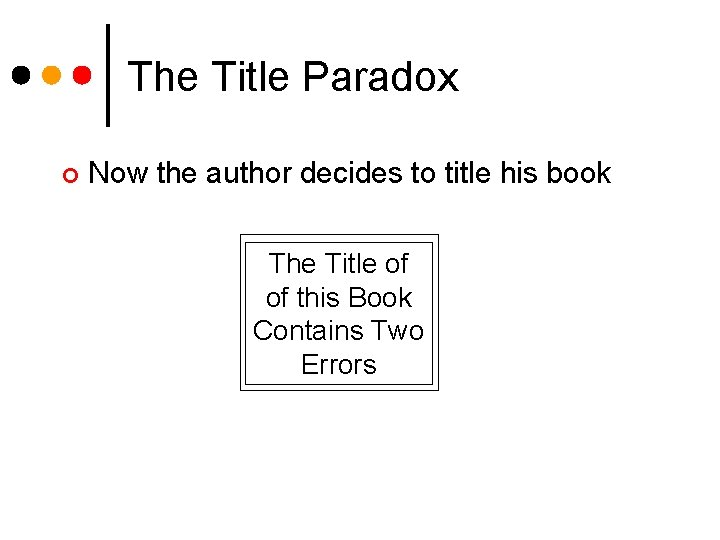 The Title Paradox ¢ Now the author decides to title his book The Title