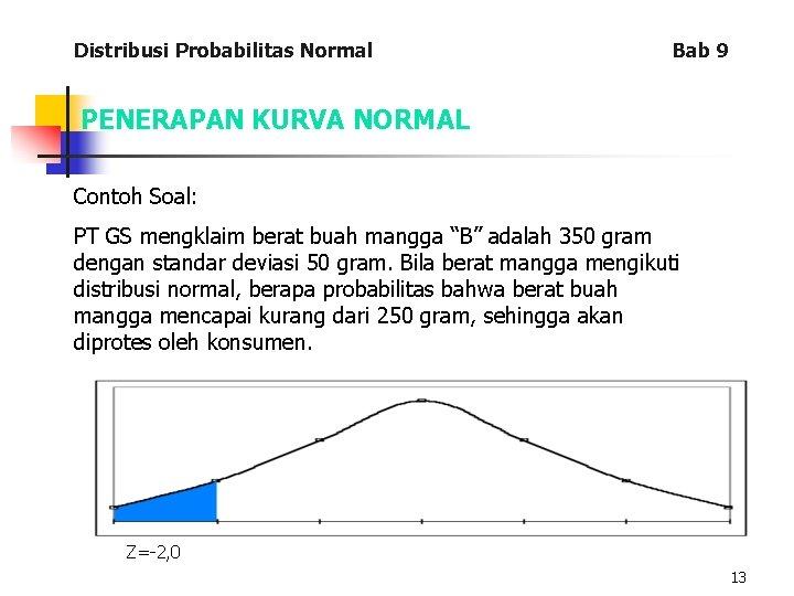Distribusi Probabilitas Normal Bab 9 PENERAPAN KURVA NORMAL Contoh Soal: PT GS mengklaim berat