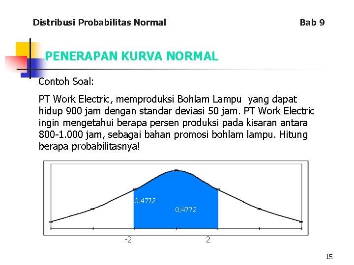 Distribusi Probabilitas Normal Bab 9 PENERAPAN KURVA NORMAL Contoh Soal: PT Work Electric, memproduksi